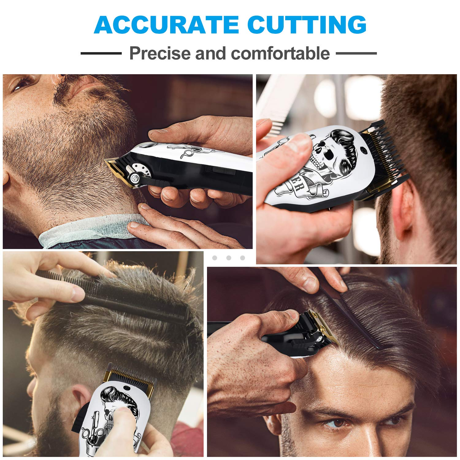 Professional Cordless Hair Clippers Electric Hair Cutter Machine Kit Rechargeable Wireless Hair Grooming Trimmers Set with 6Pcs Guide Combs for Men Kids Babies Family Home