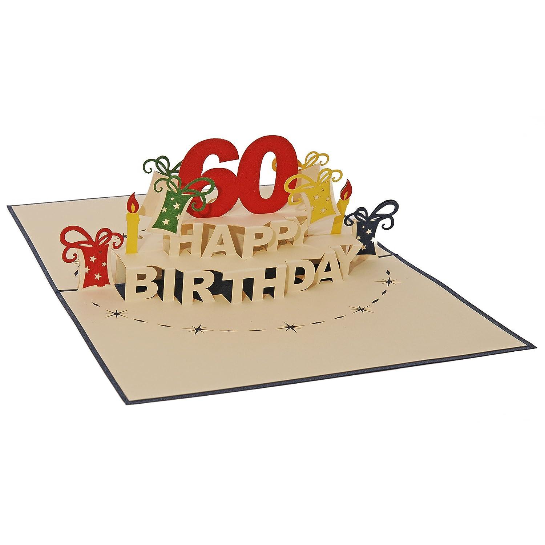 Favour Pop Up, Biglietto d' auguri per 60° compleannoUn originale biglietto di auguri 3D, un'opera d'arte in filigrana fatta a mano che si dispiega all'apertura della busta blu.TA60B