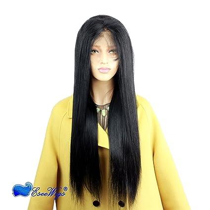 Eseewigs # 1 Jet Color negro peluca llena del cordón Pelo humano Remy brasileño Peluca larga