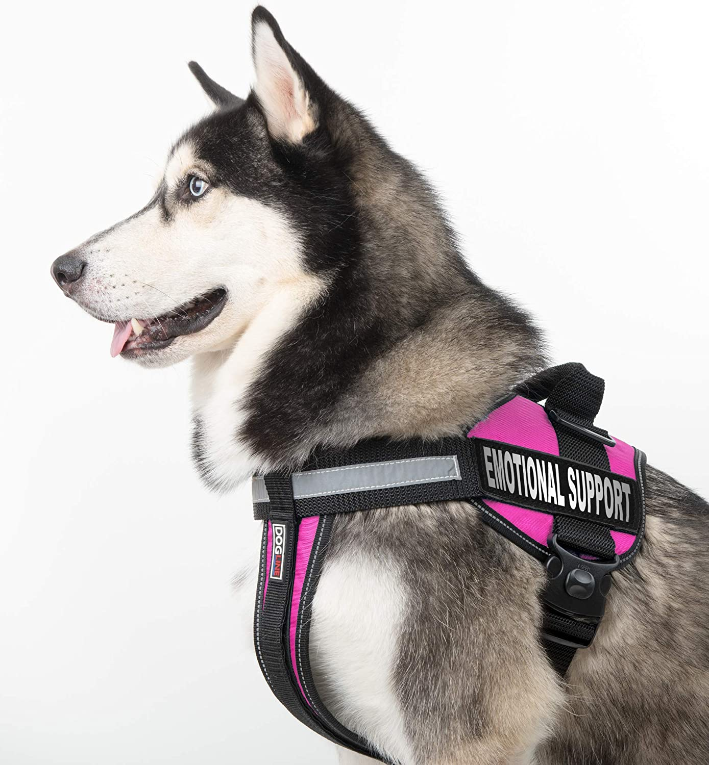 Dogline Vest Harness for Dogs and 2 Removable Emotional Support Patches X-Small//15 to 19 Blue
