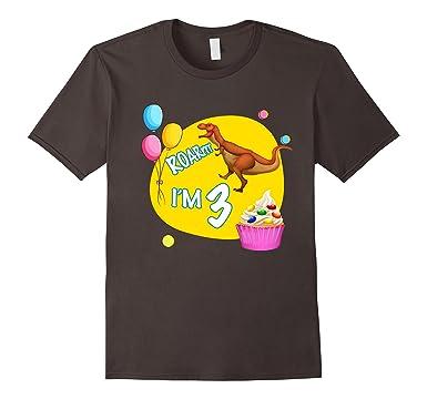 Mens Happy 3rd Birthday Kids Party Dinosaur Theme Novelty T Shirt 2XL Asphalt