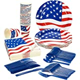Disposable Dinnerware Set - Serves 24 - Patriotic Party Supplies - American Flag Party Supplies - Paper Party Supplies - Includes Plastic Knives, Spoons, Forks, Paper Plates, Napkins, Cups