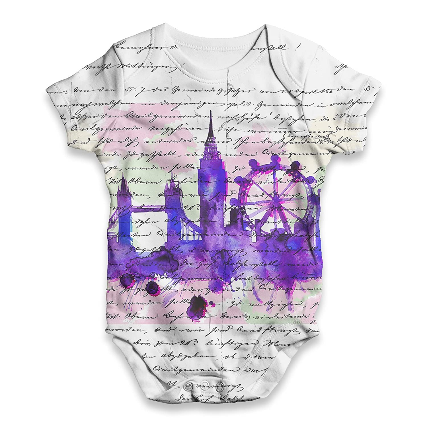 TWISTED ENVY Book Print London Skyline Baby Unisex Funny All-Over Print Bodysuit Baby Grow Baby Romper