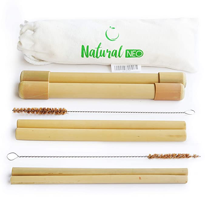 """Organic Reusable Bamboo Straws With Coconut Fiber Brush 20cm 8"""" & 2 Handcrafted Travel Cases With Bag 