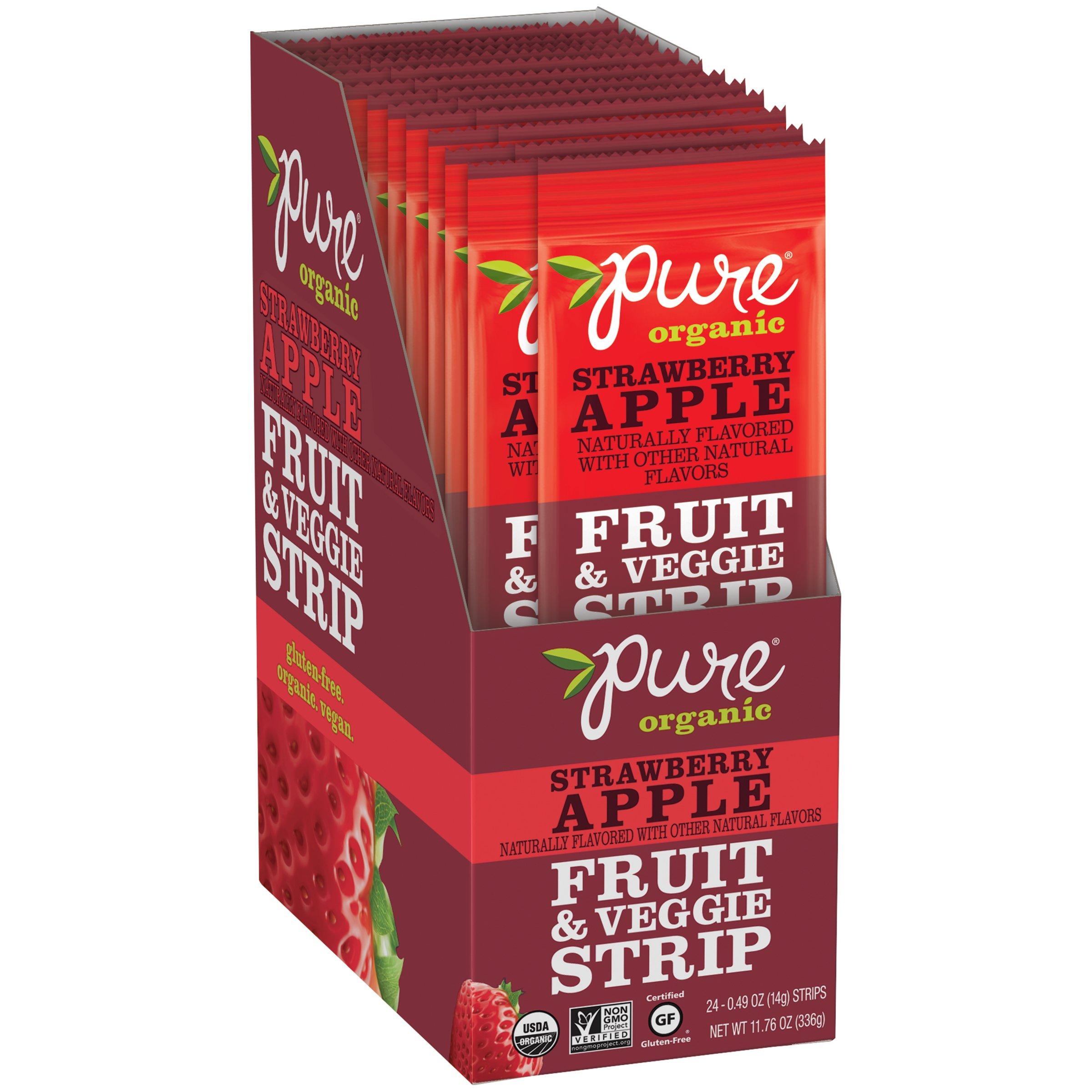 Pure Organic Strawberry Apple Fruit & Veg Strip, 24 ct