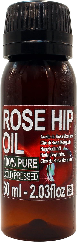 Aceite Rosa Mosqueta 100% Puro 60ml Origen Patagonia Chile - Envasado en UE, Primera Prensada en Frío, Virgen Extra -Color naranja brillante-. Primera calidad de exportación. Envío Super rápido desde