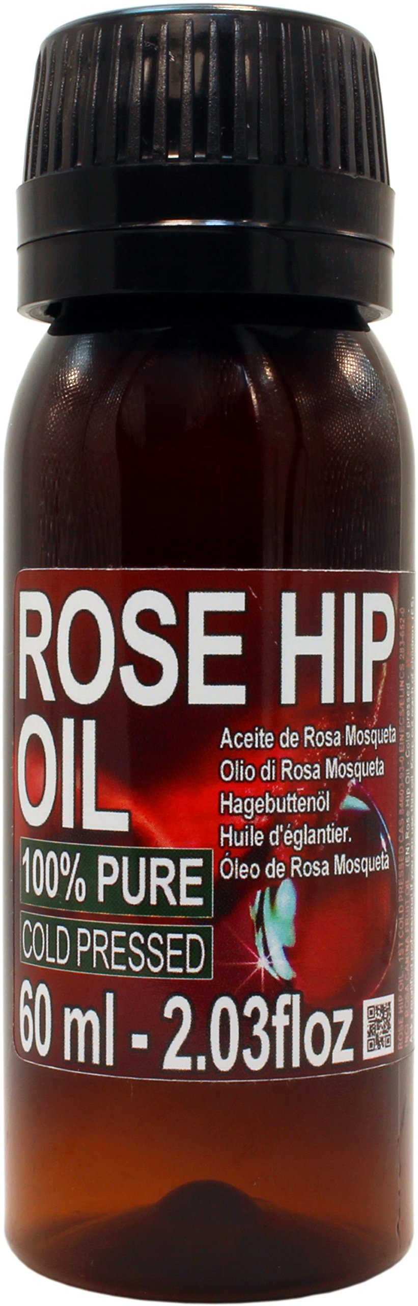 Aceite Rosa Mosqueta 100% Puro 60ml Origen Patagonia - Envasado en UE, primera prensada