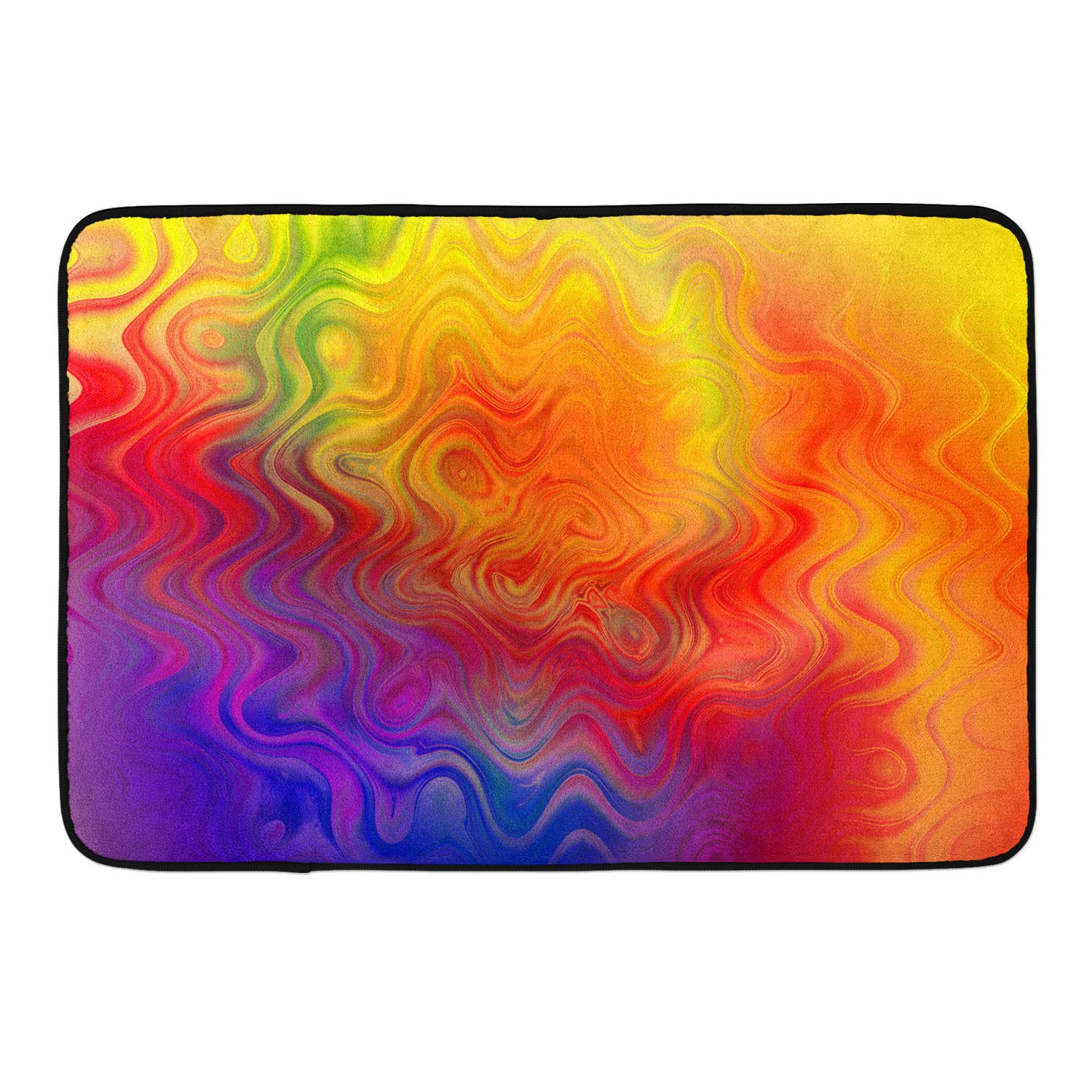 CIGOCI Anti-Skid Memory Foam Bathroom Rugs - 18 x 36 Inch, Extra Absorbent,Soft,Duarable and Quick-Dry Shaggy Rugs, 3D PrintPsychedelic Trippy Watercolor Bath Rug