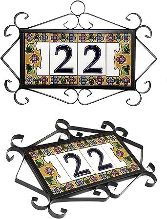 Herrajes para 6 Piezas de 3,5 x 7,5 cm Pintados a mano con la t/écnica de la cuerda seca Grabado y Ceramica Espa/ñola N/úmeros y letras para casas 3,5 x 7,5 cm