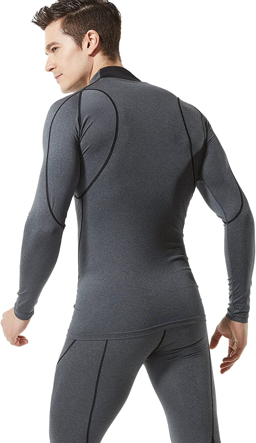 Pack of 1, 2, 3 TSLA Mens Mock Long-Sleeved T-Shirt Cool Dry Compression Baselayer