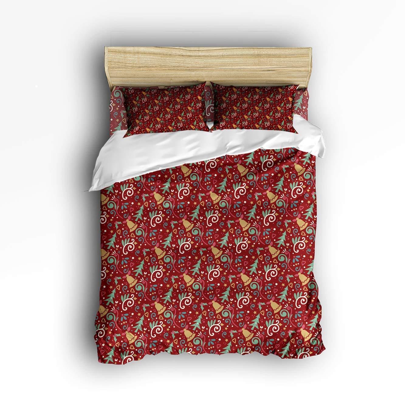 Anzona 寝具4点セット クリスマスエレメント 陽気なセレブレーション 木の葉とベルの装飾 4ピース羽毛布団カバーセット ベッドスプレッド 子供/子供/ティーン/大人用 Queen Size 20181009zly4pcsbed-SLXM01647SJTCAZN B07JW45QT7 Christmas725l Queen Size