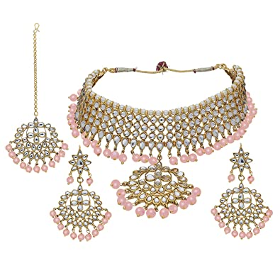 fb6523bc974 Buy Peora Traditional Peach Gold Plated Kundan Choker Necklace Earring  Maang Tikka Jewellery Set for Women Girls Online at Low Prices in India |  Amazon ...