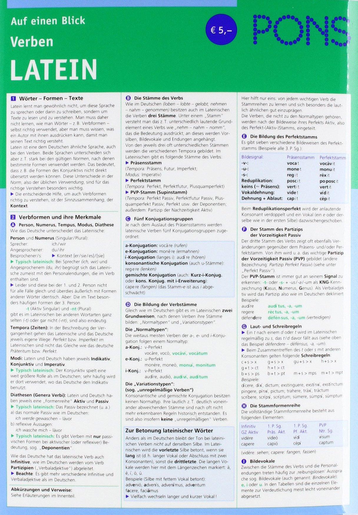 PONS Verben auf einen Blick Latein: kompakte Übersicht, Verbformen und Konjugationen nachschlagen (PONS Auf einen Blick) Taschenbuch – 1. April 2003 Helmut Schareika PONS GmbH 3125606624 Fremdsprachige Wörterbücher