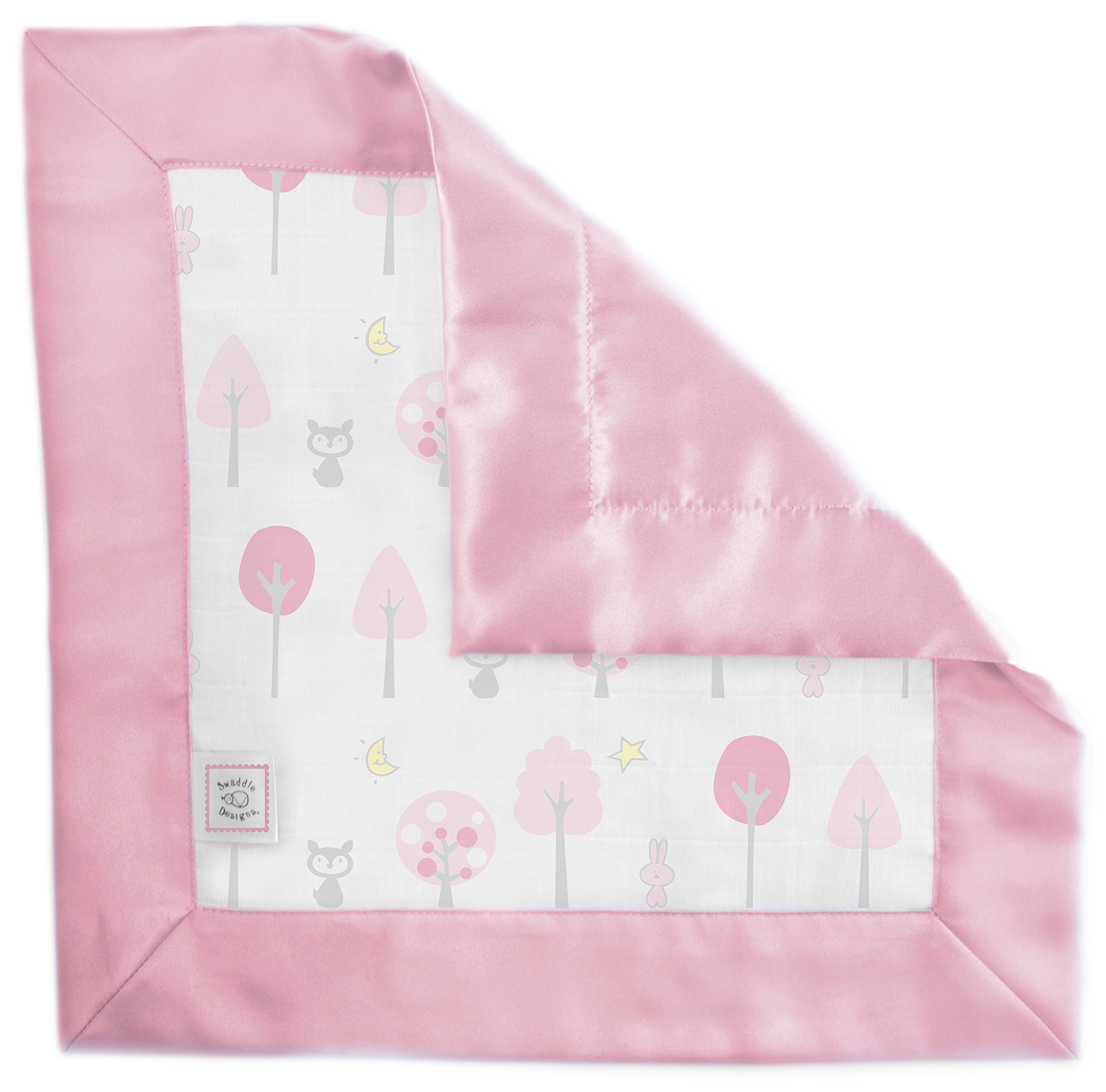 SwaddleDesigns Cotton Muslin Baby Lovie, Small Security Blanket, Pink Thicket with Satin Trim