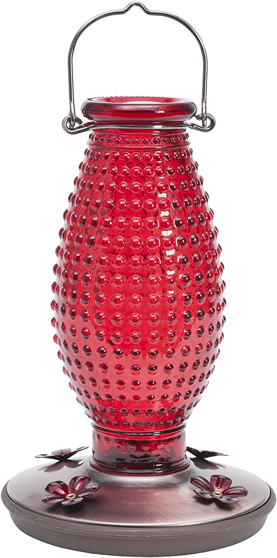 Perky-Pet Red Hobnail Vintage Glass Hummingbird Feeder 8130-2