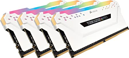 CORSAIR Vengeance RGB PRO 32GB (4x8GB) DDR4 3000MHz C15 LED Desktop Memory - White