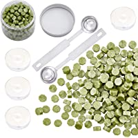 CRASPIRE 300 Pieces Octagon Sealing Wax Beads Sticks with 4 Pieces Tea Candles and 2 Piece Wax Melting Spoon for Wax…