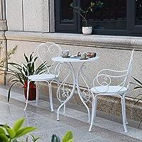 3 Piece Outdoor Garden Table Desks and Chairs Set Love Design Bistro Set, Bistro Table Set Retro Style Garden Furniture…