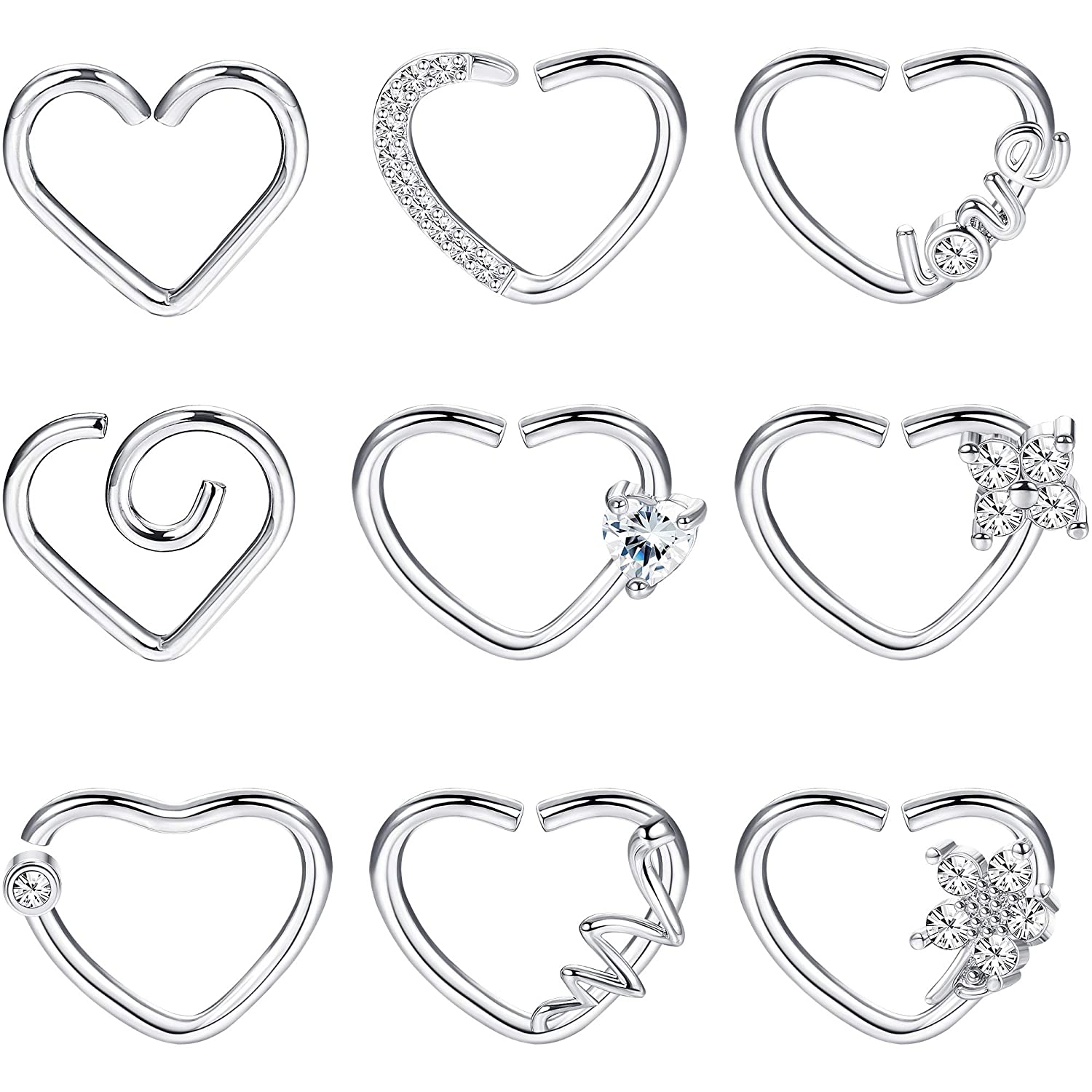 LOYALLOOK 9Pcs Helix Cartilage Earring Tragus Daith Piercing Surgical Steel Heart//Star Nose Ring 16 Gauge