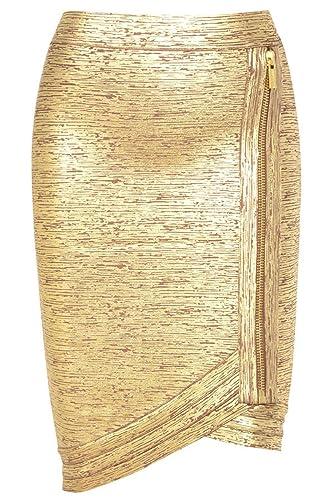 Pinkyee – Falda – para mujer Dorado dorado Large