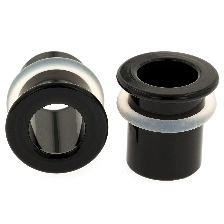 Pair of Glass Single Flared Eyelets: 0g Black Gorilla Glass 33-PAIR-BHS-0-BK