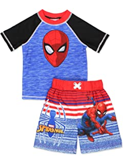 Spider-Man Boys Swim Trunks and Rash Guard Set (Toddler/Little Kid/