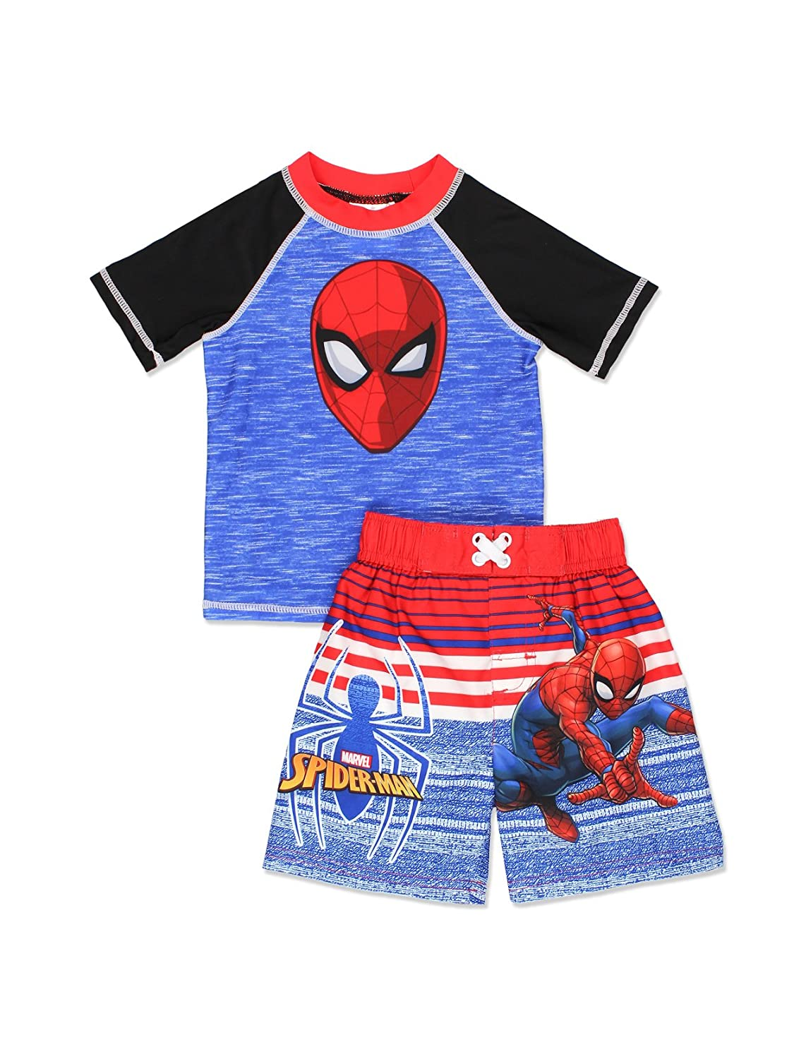 426d4ad7b7284 Get ready to save the summer in these awesome Marvel Comics Spider-Man  two-piece sets! Each set includes a rash guard top and swim trunks  featuring your ...