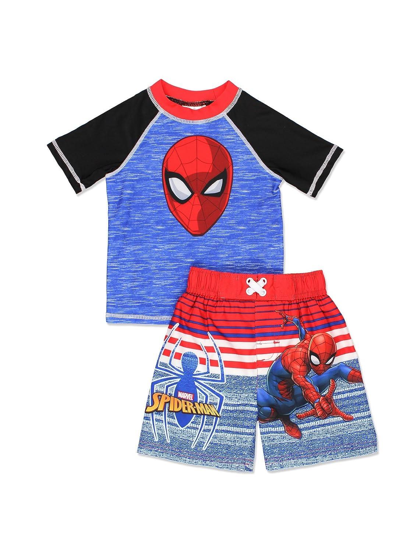 Spider-Man Boys Swim Trunks and Rash Guard Set (Toddler/Little Kid/Big Kid) Blue/Red) Dreamwave