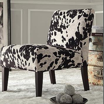Metro Shop INSPIRE Q Black U0026 White Faux Cow Hide Fabric Accent Chair Decor  Black