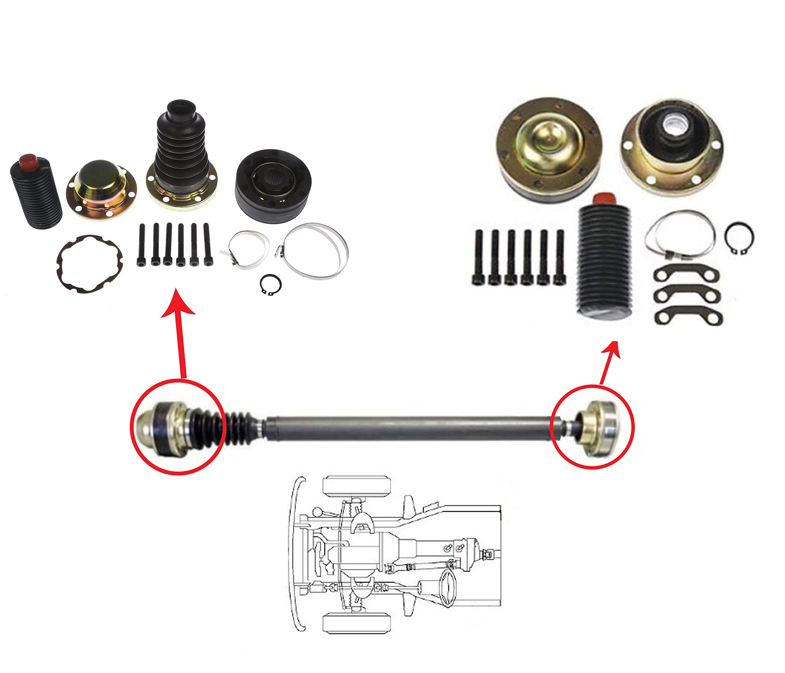 2 Joints - DTA D1932301302K Driveshaft Propshaft Joint Repair Kits, Jeep Liberty, Grand Cherokee, Both Ends, OE replacement, Replace Dorman 932-301 932-302