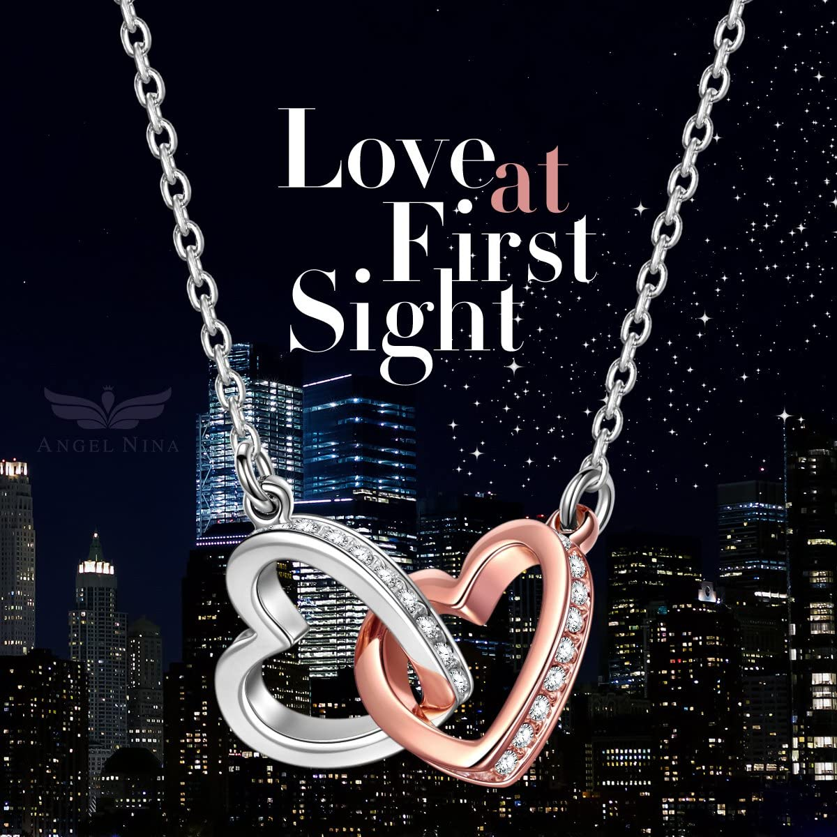 ANGEL NINA Valentine Gifts Necklaces for Women 925 Sterling Silver Heart Necklace Love at First Sight Valentines Anniversary Birthday Gifts for Women Wife Girlfriend with Elegant Jewelry Box