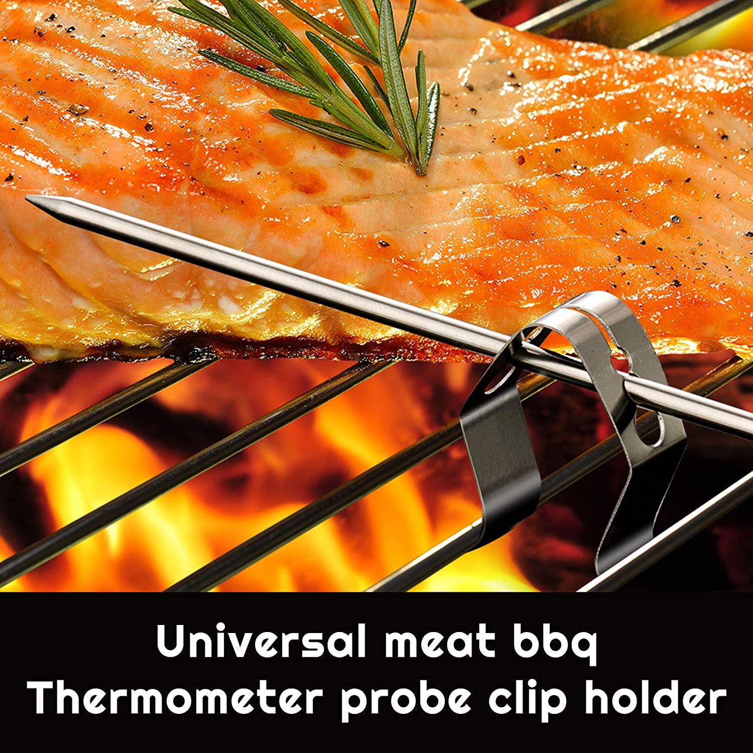 4 Pieces Meat Probe with 4 Clips Thermometer Probe Replacement Digital Waterproof Thermostat Probe Compatible with Traeger BBQ Grills 3.5 mm Plug