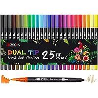 25 Colores Rotuladores lettering, ZSCM Rotuladores Doble Punta Fina, Fineliner Plumas para Adultos libros de colorear…