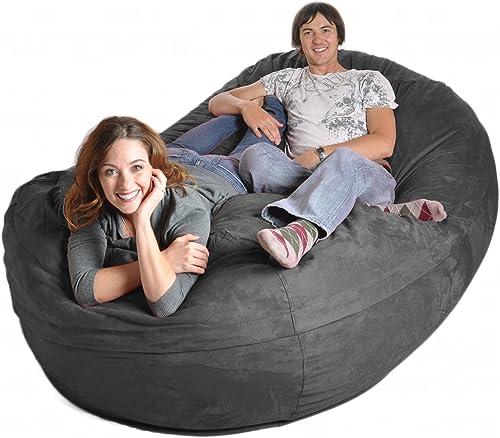 SLACKER sack 8-Feet Foam Microsuede Beanbag Chair Lounger, Giant, Charcoal Gray
