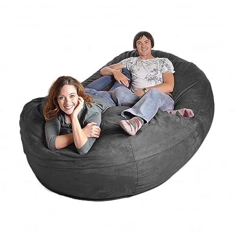 SLACKER Sack 8 Feet Foam Microsuede Beanbag Chair Lounger Giant Charcoal Gray
