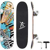 Colmanda Completo Skateboard para Principiantes, 79 x 20 cm Tabla de Skateboard, 7 Capas Monopatín de Madera de Arce con…