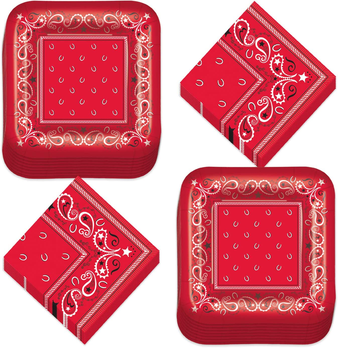 Western Party Supplies - Red Bandana Paper Dessert Plates and Beverage Napkins (Serves 16)