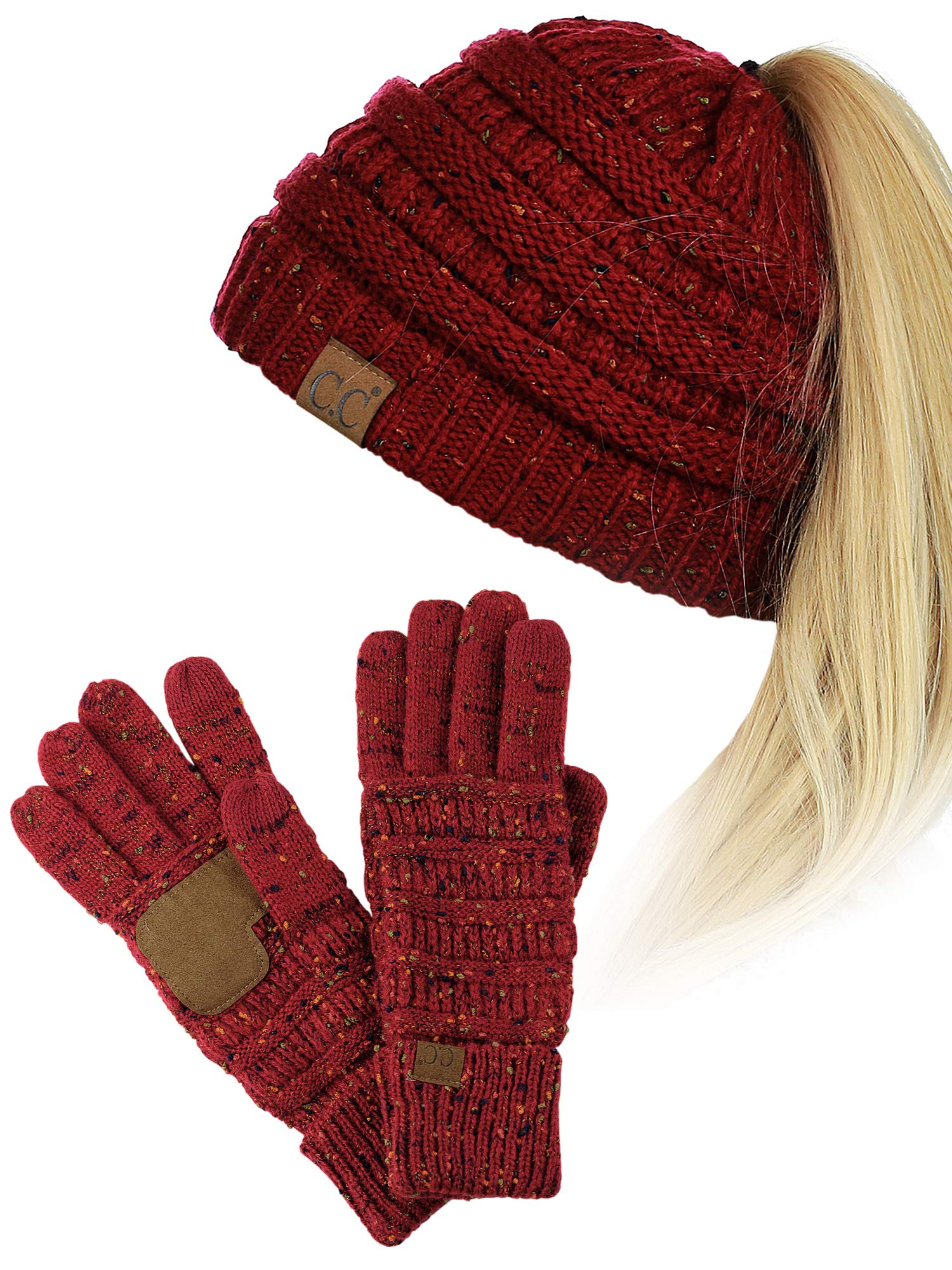 C.C BeanieTail Messy High Bun Cable Knit Beanie and Anti-Slip Touchscreen Gloves Set, Confetti Black by C.C