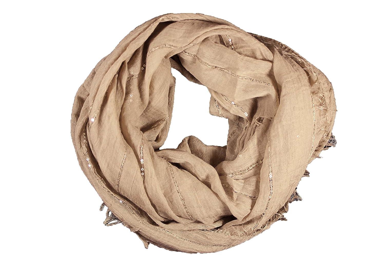 538cd7ac0c7 FERETI Grand foulard Marron clair à sequins paillettes broderies et franges  argent Echarpe  Amazon.fr  Bagages