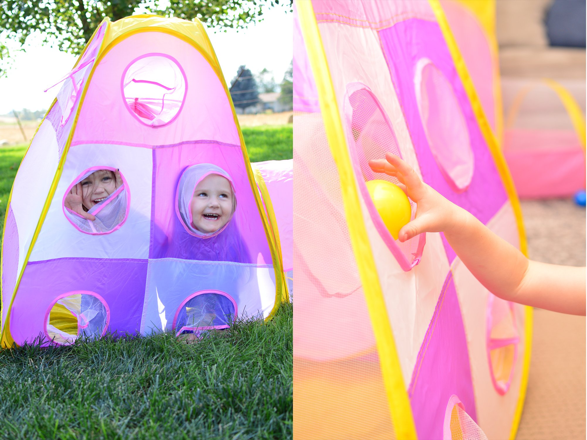 Playz 5pc Childrenu0027s Playhouse Popup Tents Tunnels ... & Playz 5pc Childrenu0027s Playhouse Popup Tents Tunnels and Basketball ...