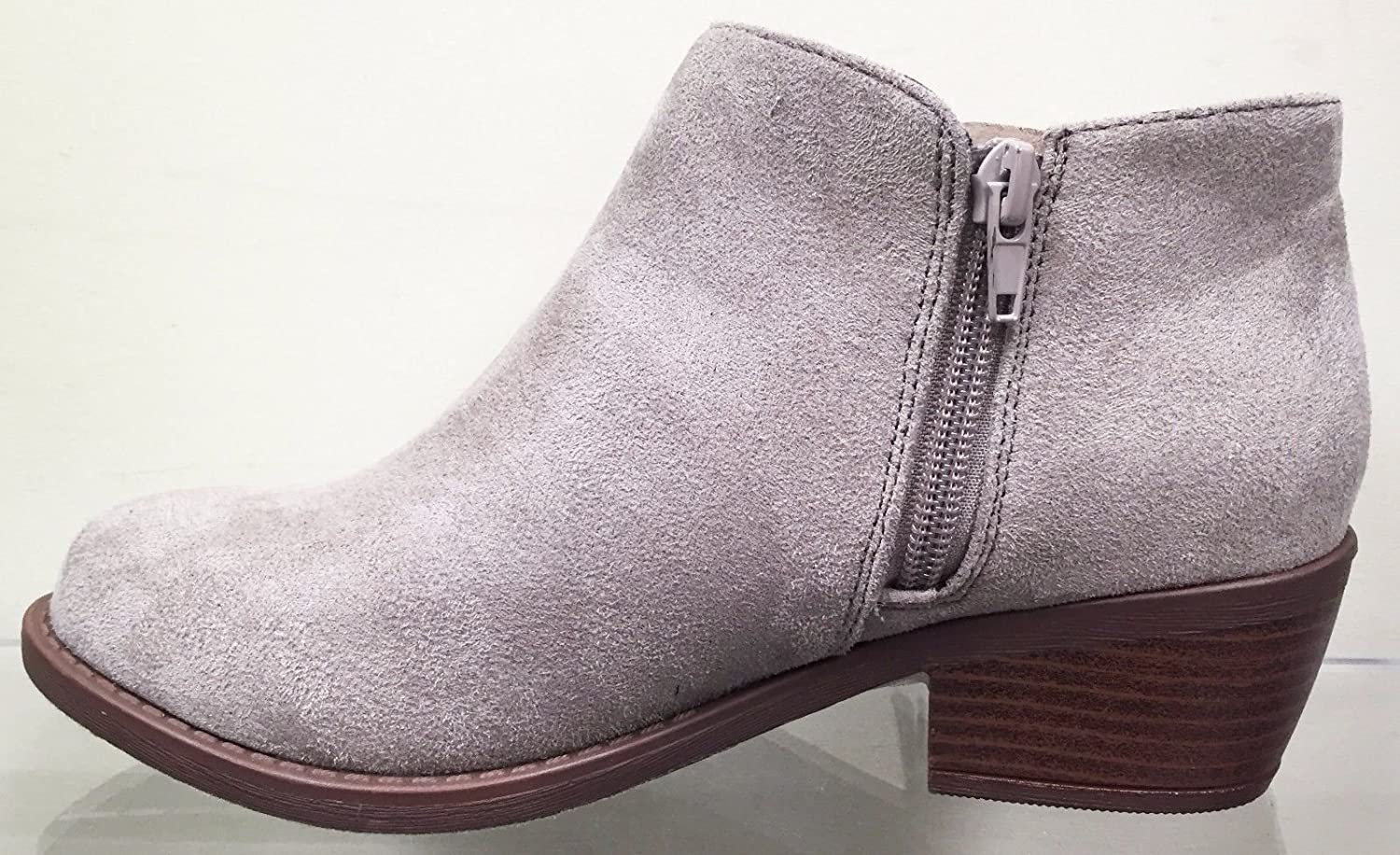 Soda Doctor Fringe Faux Suede Moccasin Pointy Toe Stacked Heel Ankle Bootie Shoe Taupe