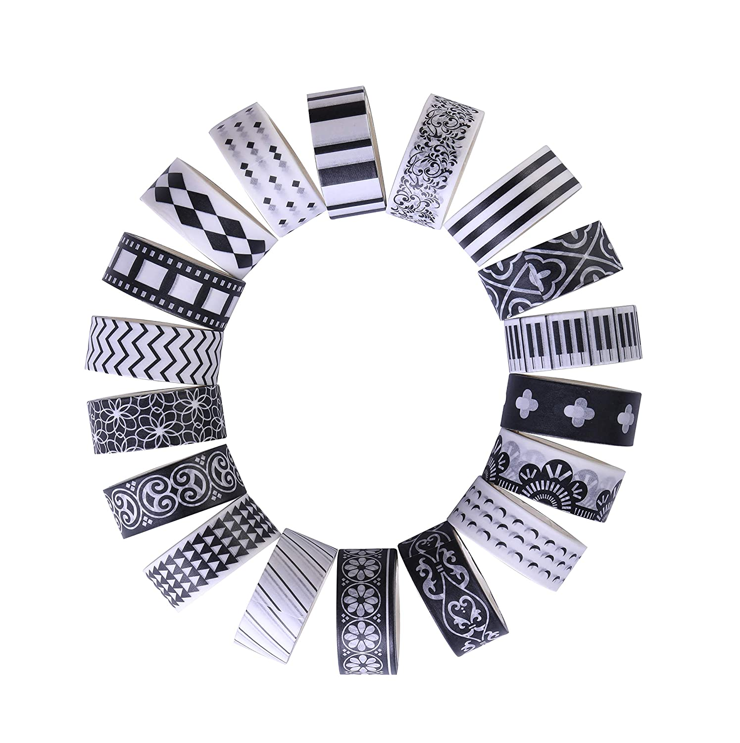 27 Rolls Washi Masking Tape Set, Classic Black and White Decorative Washi Masking Tape,Decorative Special Design Washi Craft Tape for DIY Crafts Book Designs, Great for Festivals and Party LEOTER
