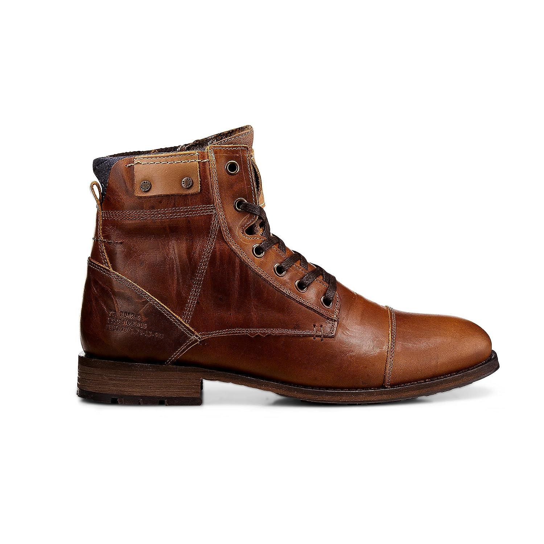 Cox Herren Schnür-Boots aus Leder, Winter-Stiefel in Braun mit Robuster Sohle Braun-mittel