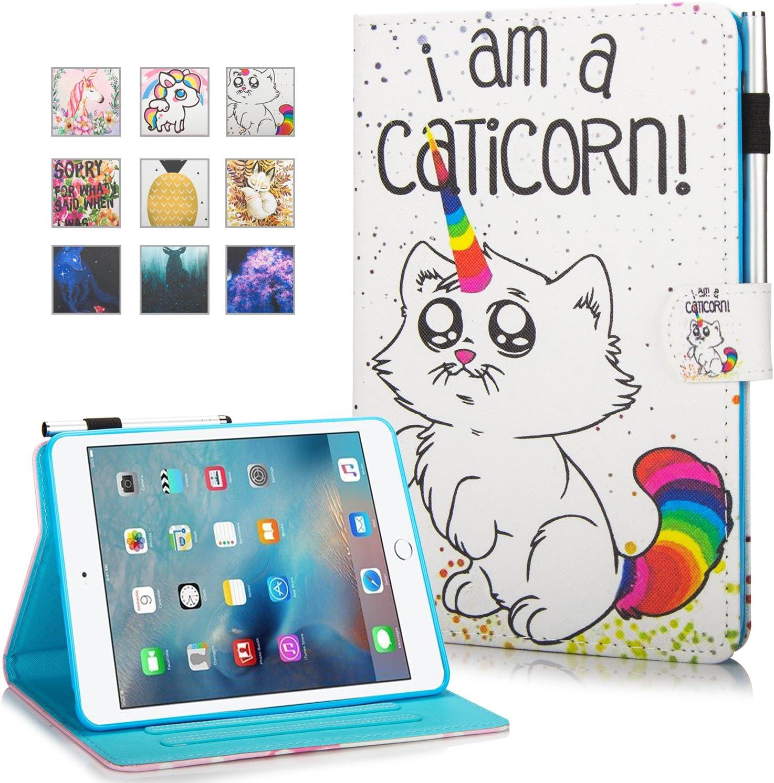 iPad Mini Case, Mini 2 3 4 Mini 5 Case Cover, MonsDirect Leather Smart Kickstand Case Flip Wallet Protective Case Compatible with Apple iPad Mini 1 2 3 4 Mini 5 2019, Caticorn
