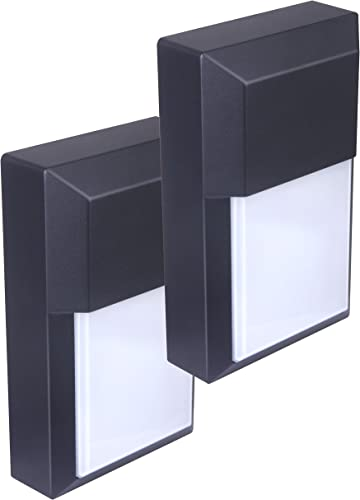 LIT-PaTH Outdoor LED Wall Lantern, Wall Pack Wall Sconce as Porch Light, 12W 1000 Lumens, Aluminum Housing Plus PC, ETL and ES Qualified, 2-Pack 5000K Black Finish