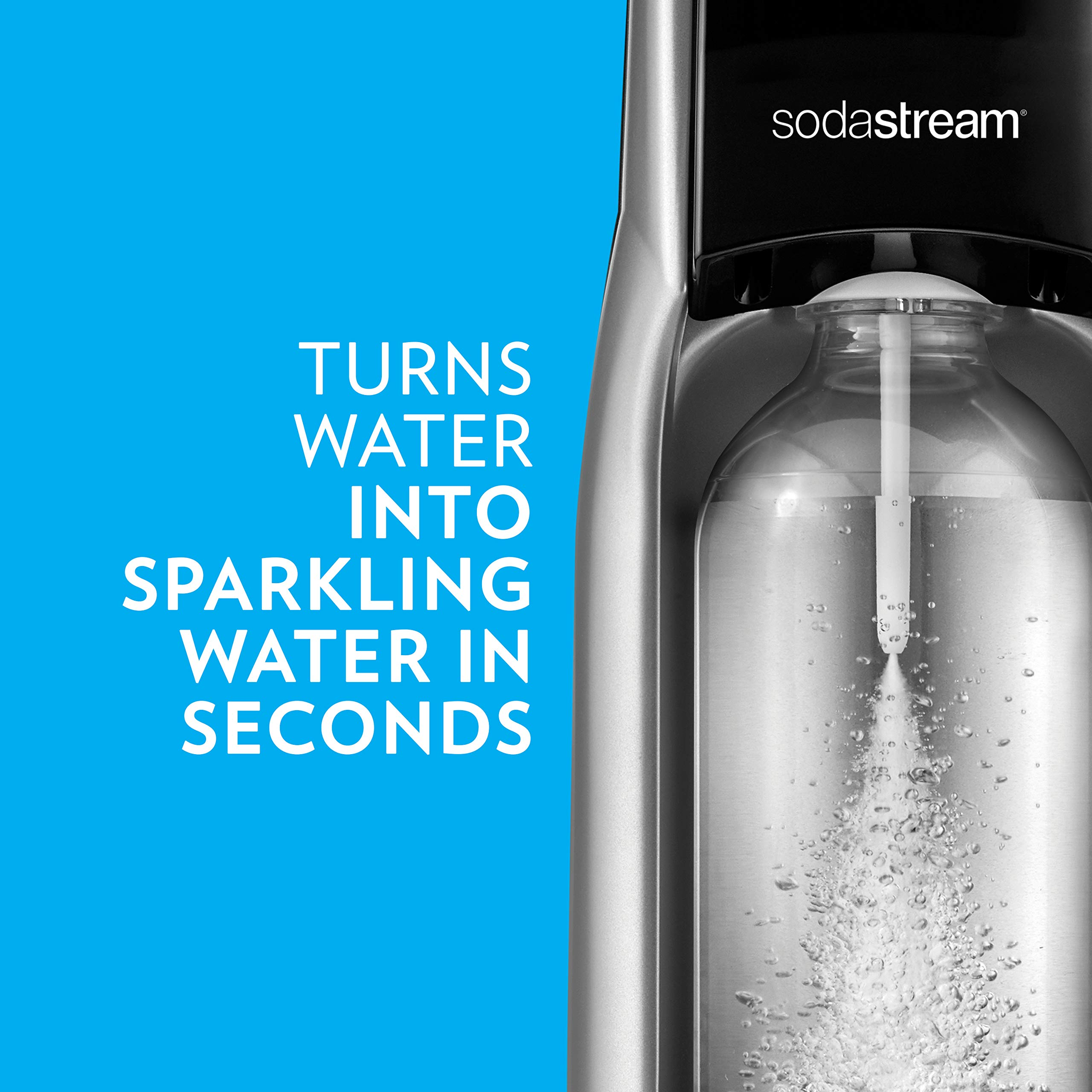 SodaStream Jet Sparkling Water Maker Bundle (Silver) with CO2, BPA free Bottles, and 0 Calorie Fruit Drops Flavors by sodastream (Image #2)
