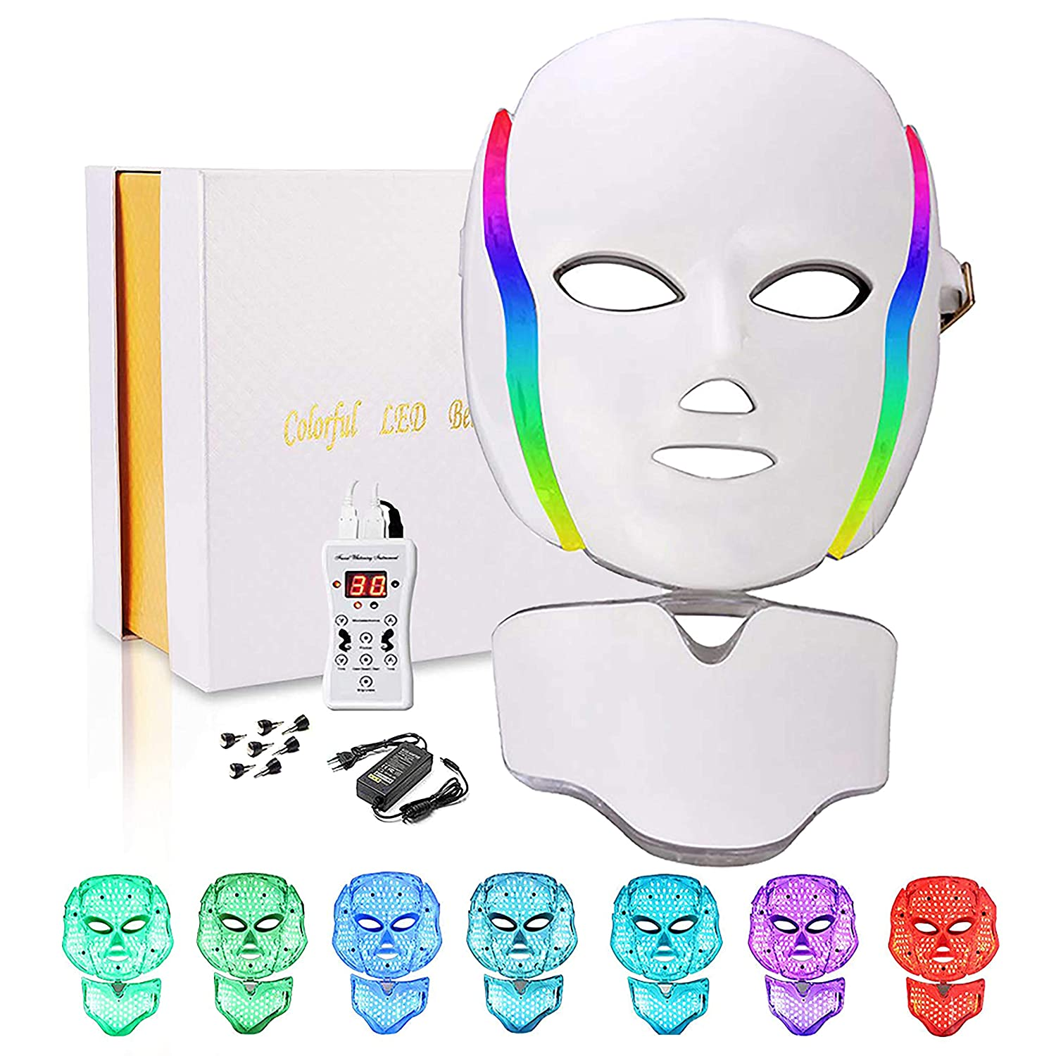 Led Face Mask, 7 Colors Led Light Photon Therapy Mask Beauty Machine Proactive Facial Slimming (white)