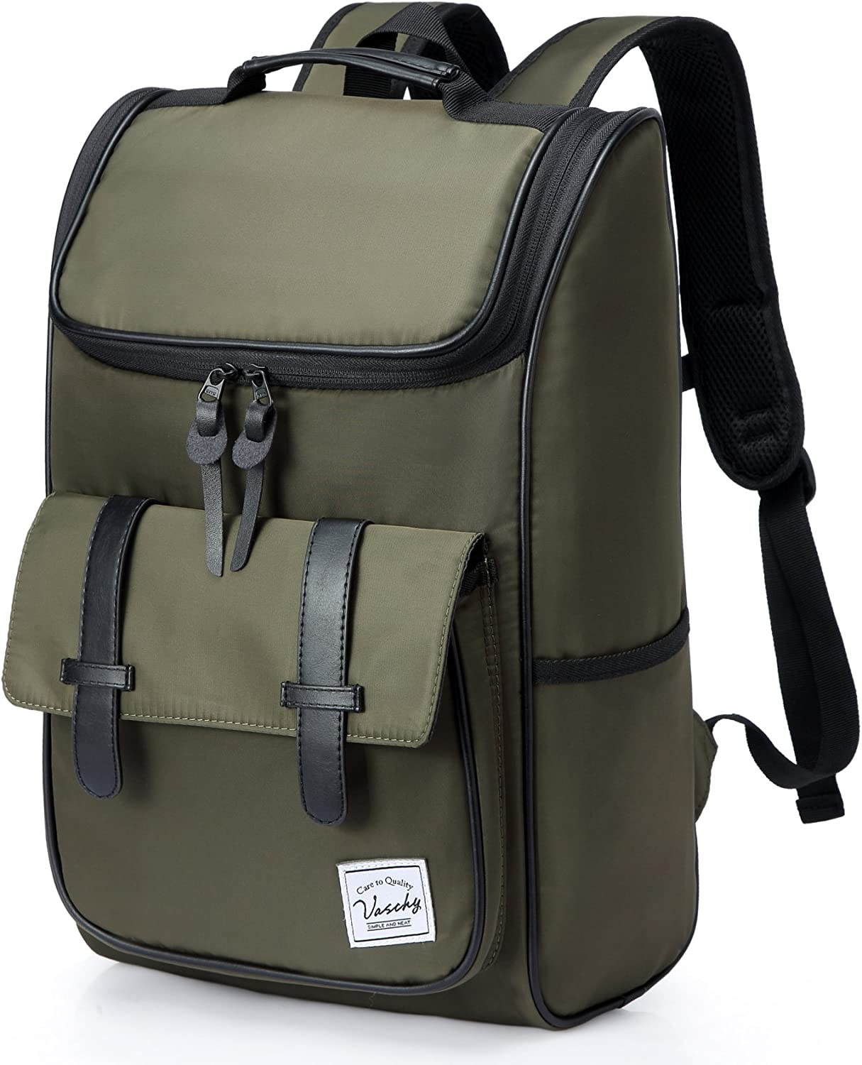 Backpack for men,Vaschy Vintage Water Resistant Daypack Rucksack College School Backpack with Padded 15.6 inch Laptop Compartment Green