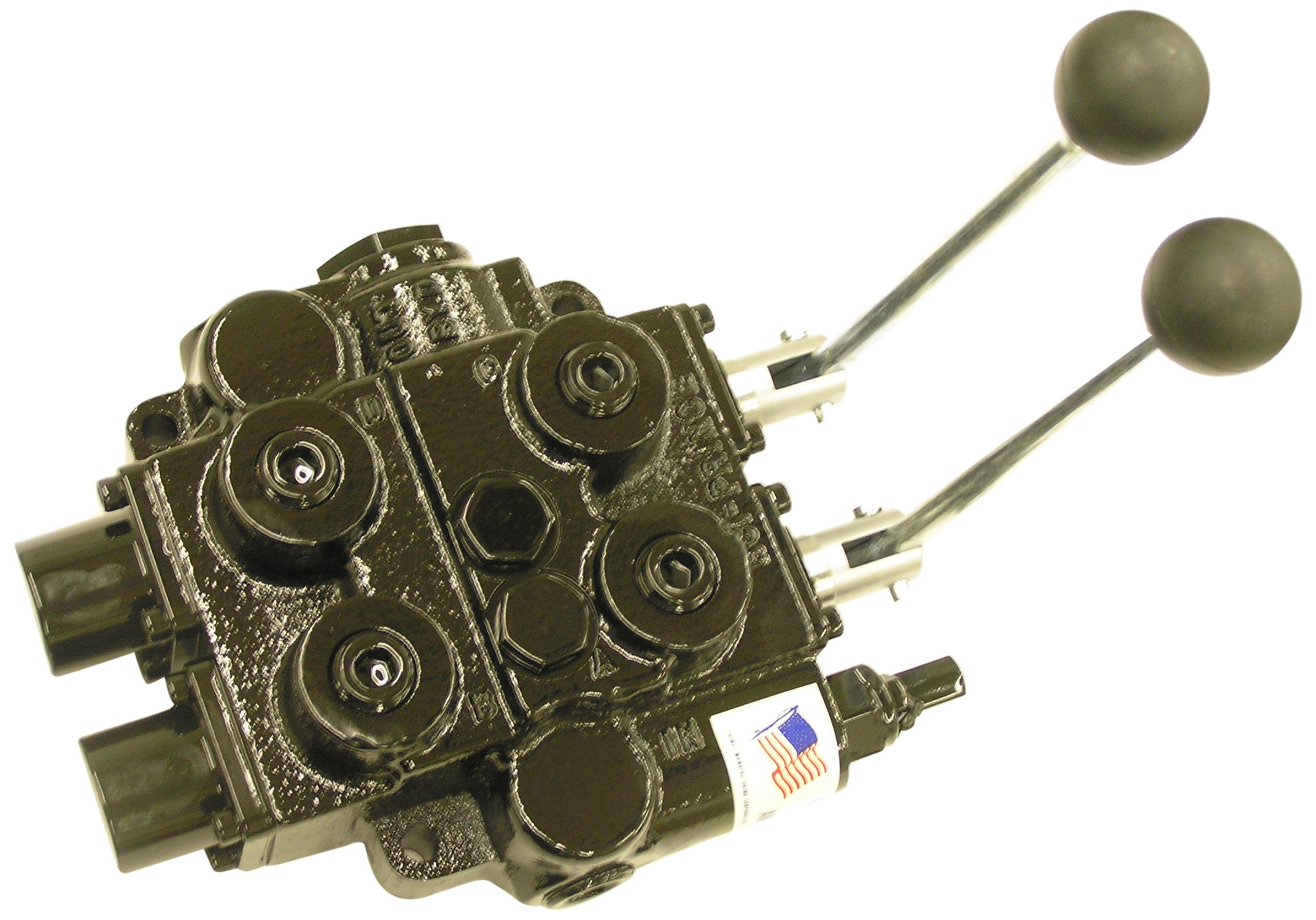 Prince RD526ECBA1B2B1 Directional Control Valve, Monoblock, Cast Iron, 2 Spool, 4 Ways, 3 Positions, Open Center, Motor Spool, Tandem, Spool 1: 3 Position Detent, No Centering Spring, Spool 2: Spring Center, Lever Handle, 3000 psi, 25 gpm, In/Out: #12 SAE