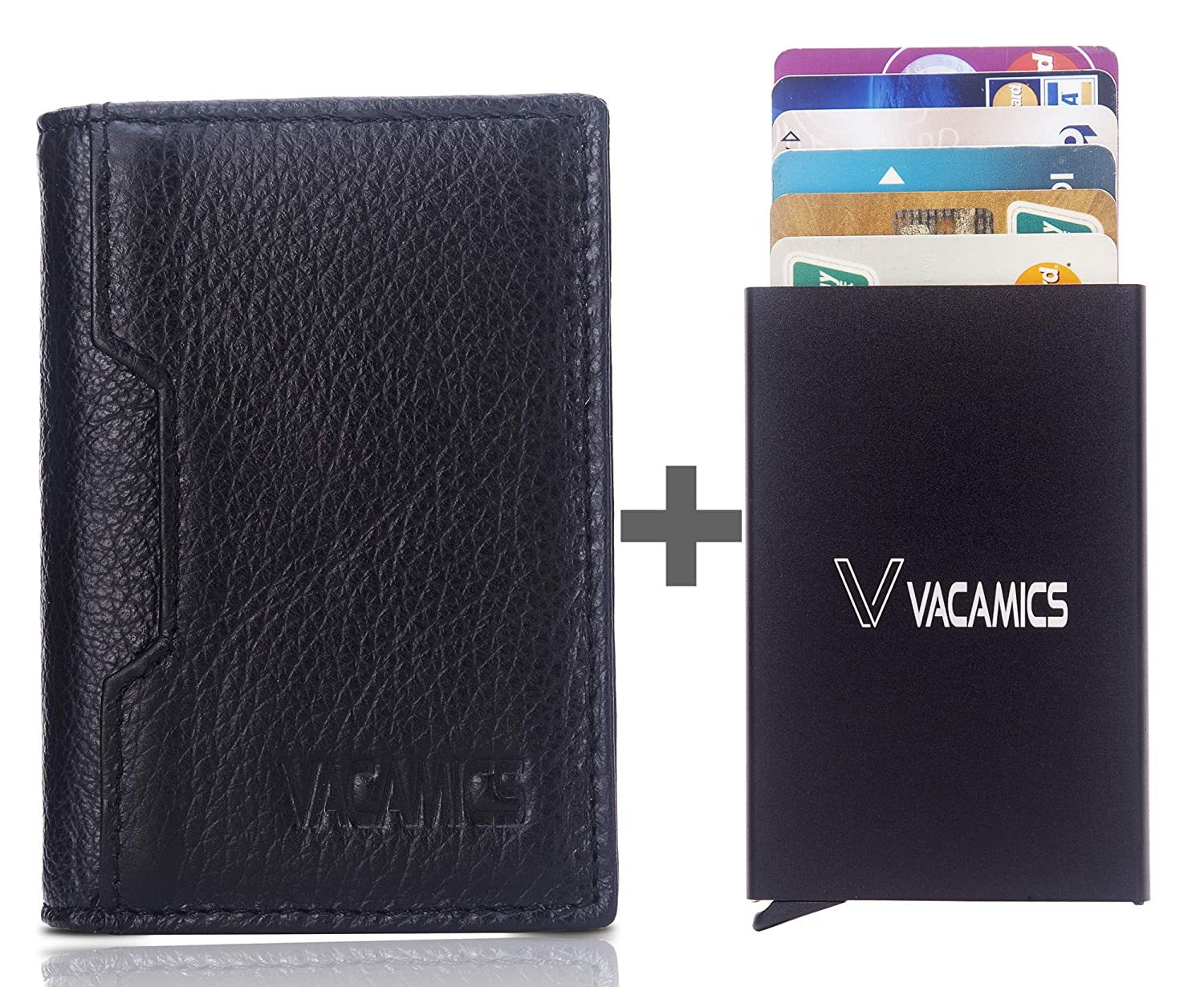 Brown Vacamics RFID Blocking Genuine Leather Minimalist Wallets for Men with Aluminum Card Holder